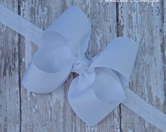 Boutique White Headband White Big Bow Headband White Baby Headband White Toddler Headband Large Bow Headband New Baby Gift
