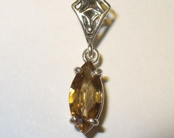 Genuine Golden Zircon Pendant - 2.4 Natural Carat Genuine Gem in Sterling Silver