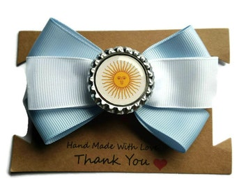 Argentina World Cup hair bow - Argentina hair clip - Argentina flag gift - Argentina Girl Gift - Team Argentina - Argentinian Football bow