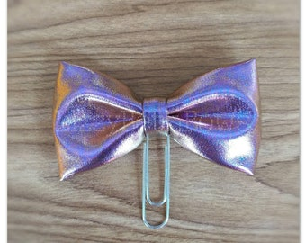 Metallic pink blue bow Planner clip, bookmark, planner bow clip, shiny metallic fabric bow