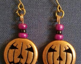 Jack-o-lantern Halloween Earrings (bronze)