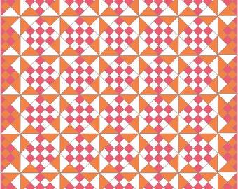 Summer Solstice Easy Quilt Pattern, pink and orange - PDF