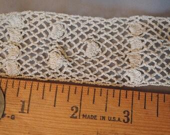 Vintage Lace Trim 3 + Yards Handmade Cotton Crochet, Antique 1900s Edwardian