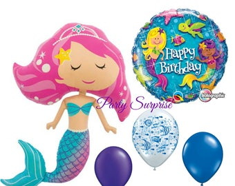 "Mermaid Birthday Balloon Package Jumbo Mermaid 45"" Mylar Foil Girl Birthday Party Under the sea balloons"