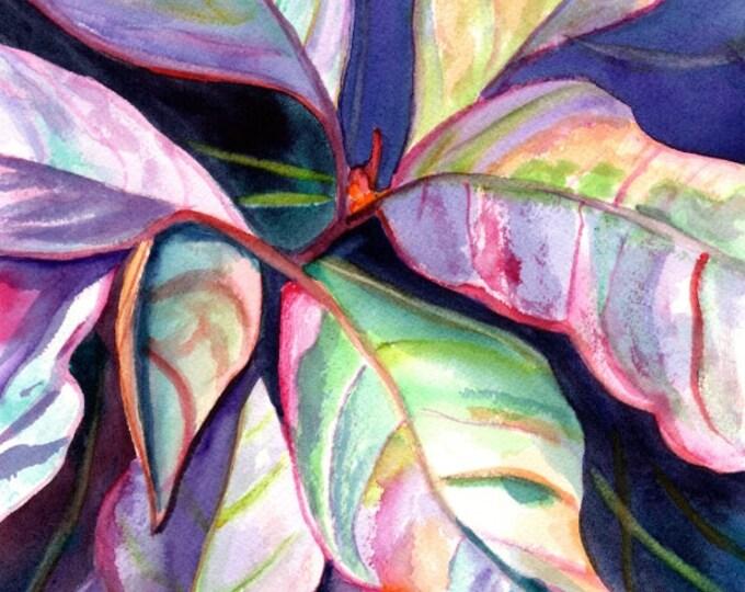 Tropical Leaves Original Watercolor Painting - Tropical Flower Art - Colorful Foliage Paintings - tropical wall art - Hawaiian home decor