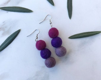 Purple Wool Earrings