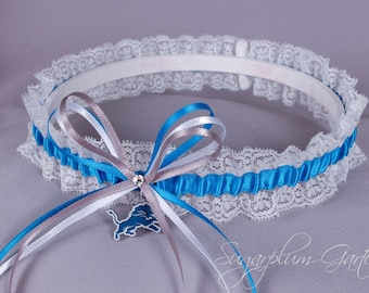 Detroit Lions Lace Wedding Garter - Ready to Ship
