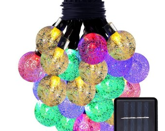50 LED Solar Powered LED Water Crystal Ball Lights -21ft 50LED - Multi Color - USA Seller - Super Fast Shipping