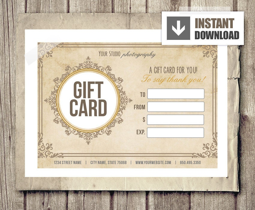 Gift Card Certificate Template For Photographers Vintage