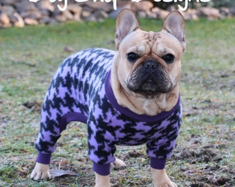 Lilac Houndstooth Check Dog Fleece- size Medium only