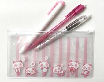 Pink Panda Clear Pen/Pencil Pouch