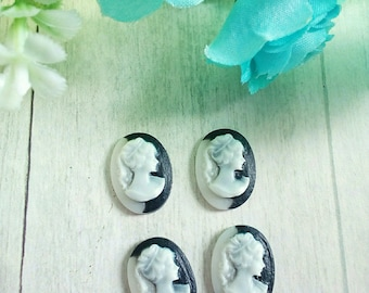 4 two-tone oval cameo portrait of woman