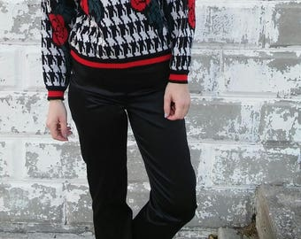 Houndstooth & Rose Knit Sweater