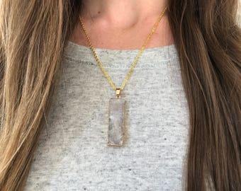 White Druzy-- White Stone Pendant-- White Pendant-- Druzy Pendant-- Druzy Stone Necklace-- White Rectangular Druzy