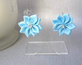 Earrings blue turquoise satin flower dangle earrings