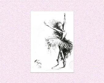 Original painting Dancing Ballerina Ink illustration - wall art of girl dancer on points - dance recital gift