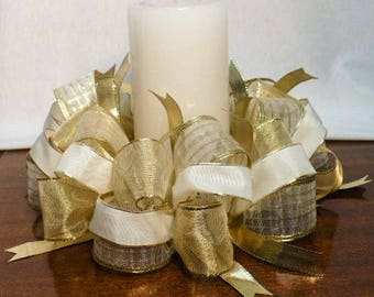 Ribbon candle ring, cream/gold/iridescent ribbon candle ring