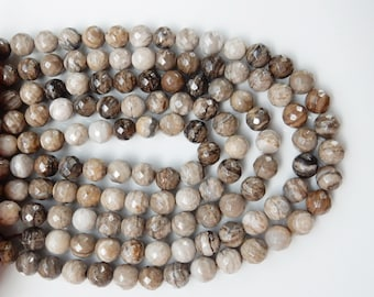 10mm Silver Leaf jasper  faceted round beads  , full strand (15.5 inches) 39 beads. gorgeous quality, Coffe, beige, gray , white