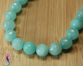 10 pearls 8mm turquoise faceted agate