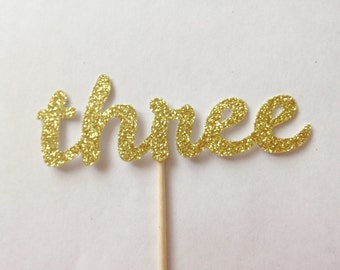 12 Three Glitter Cupcake Toppers - Birthday Party Decorations