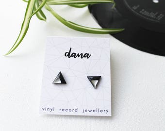 triangle studs surgical steel posts black and silver modern studs upcycled jewelry eco-friendly gift for her hypoallergenic studs LP jewelry