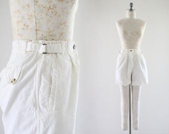 ivory ramie shorts / m