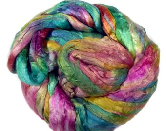 Mulberry Silk roving, hand dyed in tones of pastels