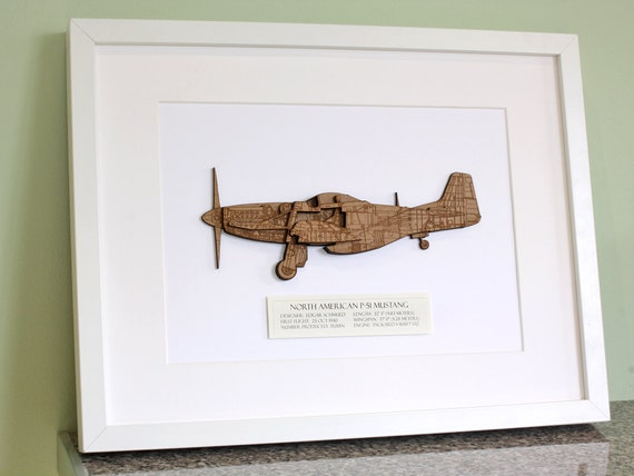 P 51 mustang blueprint wood cut p51 blueprint wall art p51 malvernweather Gallery