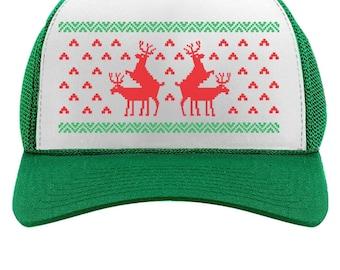 Drôle triage renne Noël laid casquette Mesh Cap