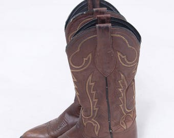 Vintage WESTERN Boots TONY LAMA Leather Boots Chocolate Brown Cowboy Boots Size 7