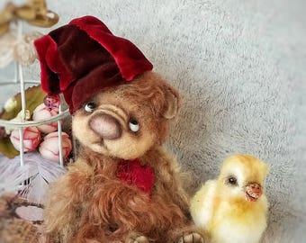 OOAK Bear Barry with Little chicken
