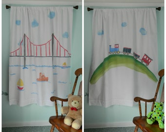 Handpainted Fun Vehicles: Train or Boat, Sailboat Blackout Curtain Panel