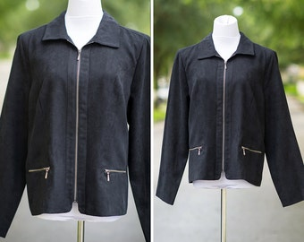 black suede jacket Large retro 90s zipper pockets fall winter xl motorcycle style faux