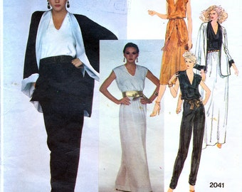 Vogue American Designer 2041 Vintage 70s Sewing Pattern by Edith Head for Misses' Jacket, Top, Skirt and Pants - Uncut - Size 12