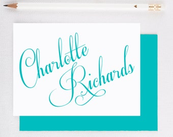 Personalized stationery set, Personalized stationary, Modern calligraphy stationary, flat note cards, custom notecards,   CR204