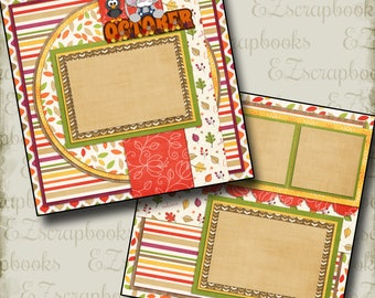 OCTOBER - 2 Premade Scrapbook Pages - EZ Layout 365