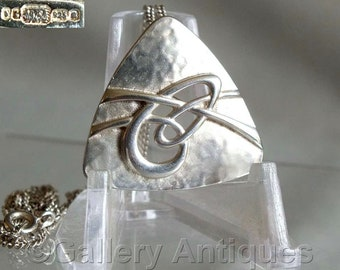 """Vintage Ola Gorie Scottish Sterling Silver Aikerness Brooch / Large Planished Celtic Pendant with 18"""" Silver Fine Curb Chain Necklace"""
