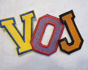 Embroidered Varsity Iron On Letters, School Letters, Varsity Letters, Sports Team Letters, Iron On Patch, Letter Patches