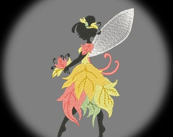 FOREST FAIRIES #3- 1 Machine Embroidery Design Instant Download 4x4 5x5 hoop (AzEB)