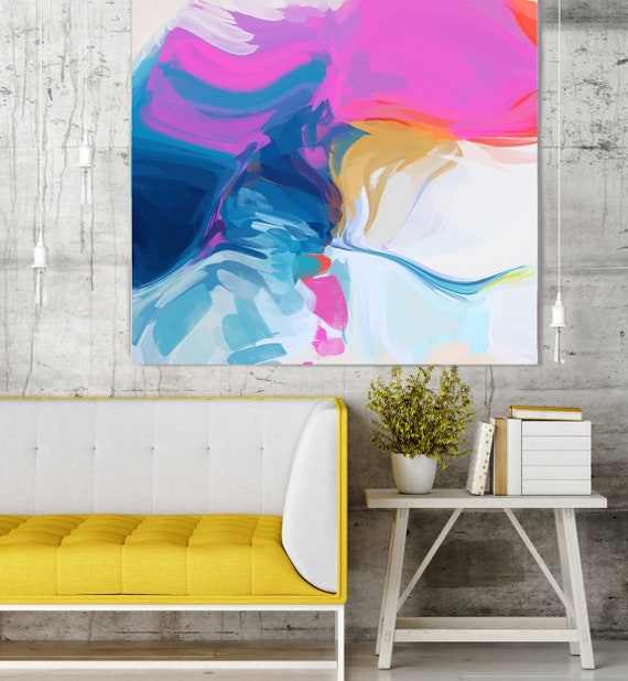 """Let's Go, Art Abstract Print on Canvas up to 50"""", Blue Pink White Yellow Abstract Canvas Art Print by Irena Orlov"""