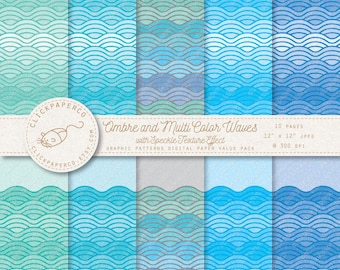 Waves Digital Paper and border pages with Speckle Texture ocean sea wave For Scrapbooking Invitations Cards Instant Download jpeg scrapbook