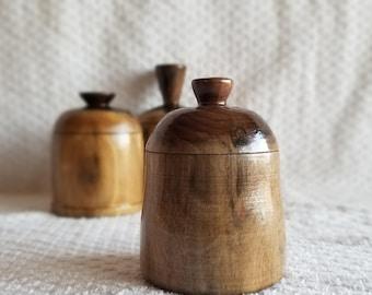 Small Hand Turned Black Walnut Stash Jar - BWSJ-A