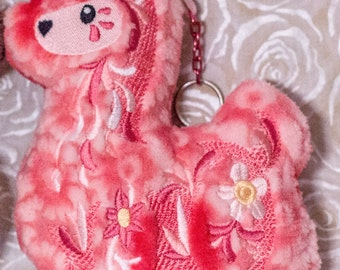 Llama Embroidered Plush Keychain/Ornament, Red Floral