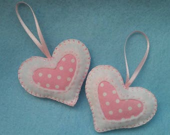 Felt and Cotton Hearts, Small Felted Hearts, set of 2