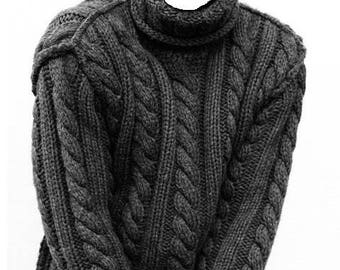 Pure Cashmere Sweater for Men, hand knit in soft cashmere with cables and turtle neck MADE TO ORDER