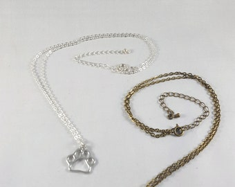 """Paw Print Necklace- 18"""" chain gold or silver colored"""