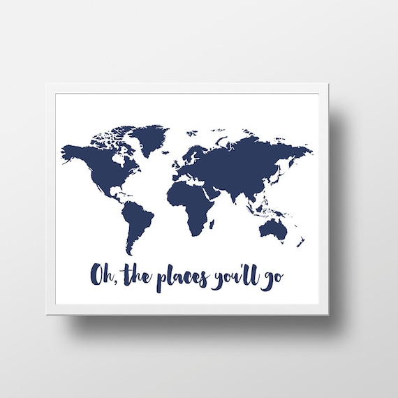Printable world map poster oh the places youll go world gumiabroncs Choice Image