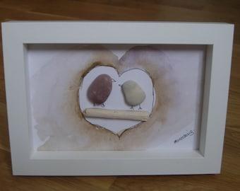 Love Birds Cornish Pebble Art Framed Picture