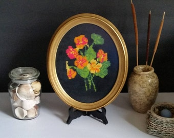 Vintage Framed Floral Needlepoint Petit Point/Gilded/Oval/Mid Century/Mod/Home Decor/Gifts/Wall Hanging/Gift/Wall Decor/Embroidery/Handmade
