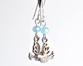 Dove earrings, boho drop earrings, small dove drop earrings, dove charm earrings, antiqued silver dangle earrings, bohemian style for her